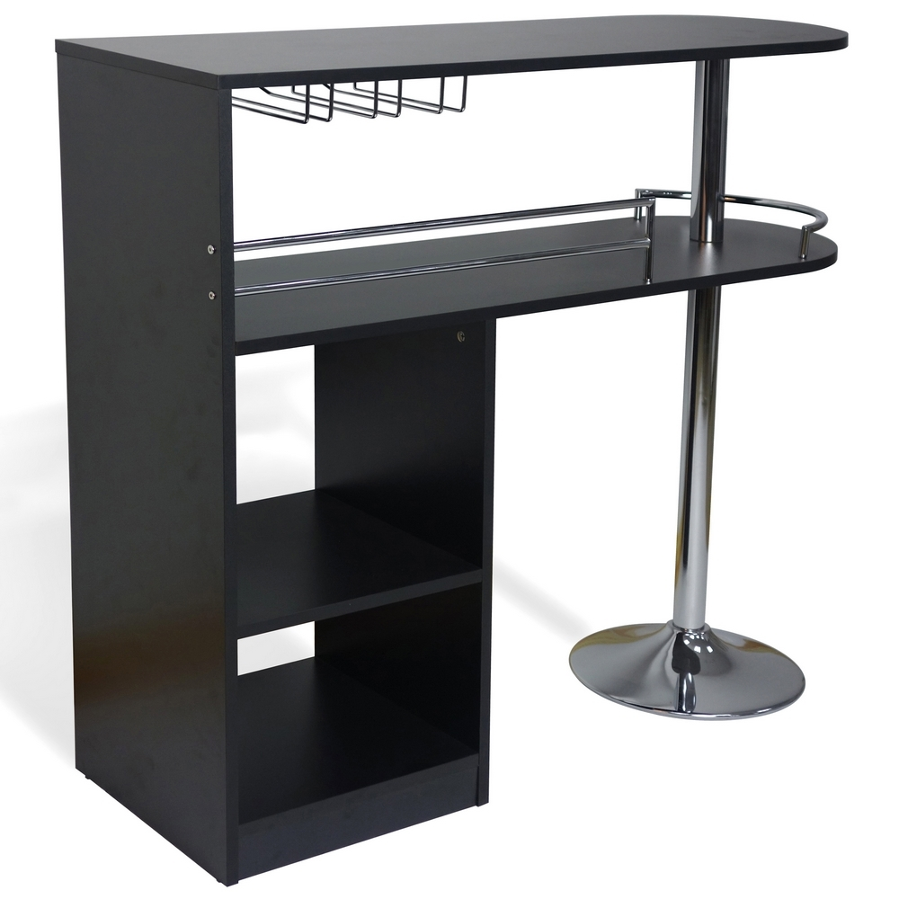 Kitchen Bar Tables: Homegear Kitchen Cocktail Bar Table - Black