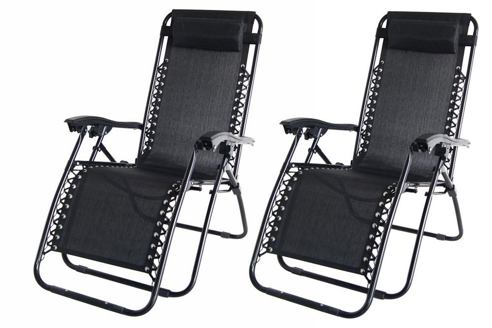 2x Palm Springs Zero Gravity Garden Chairs Lounge/Outdoor