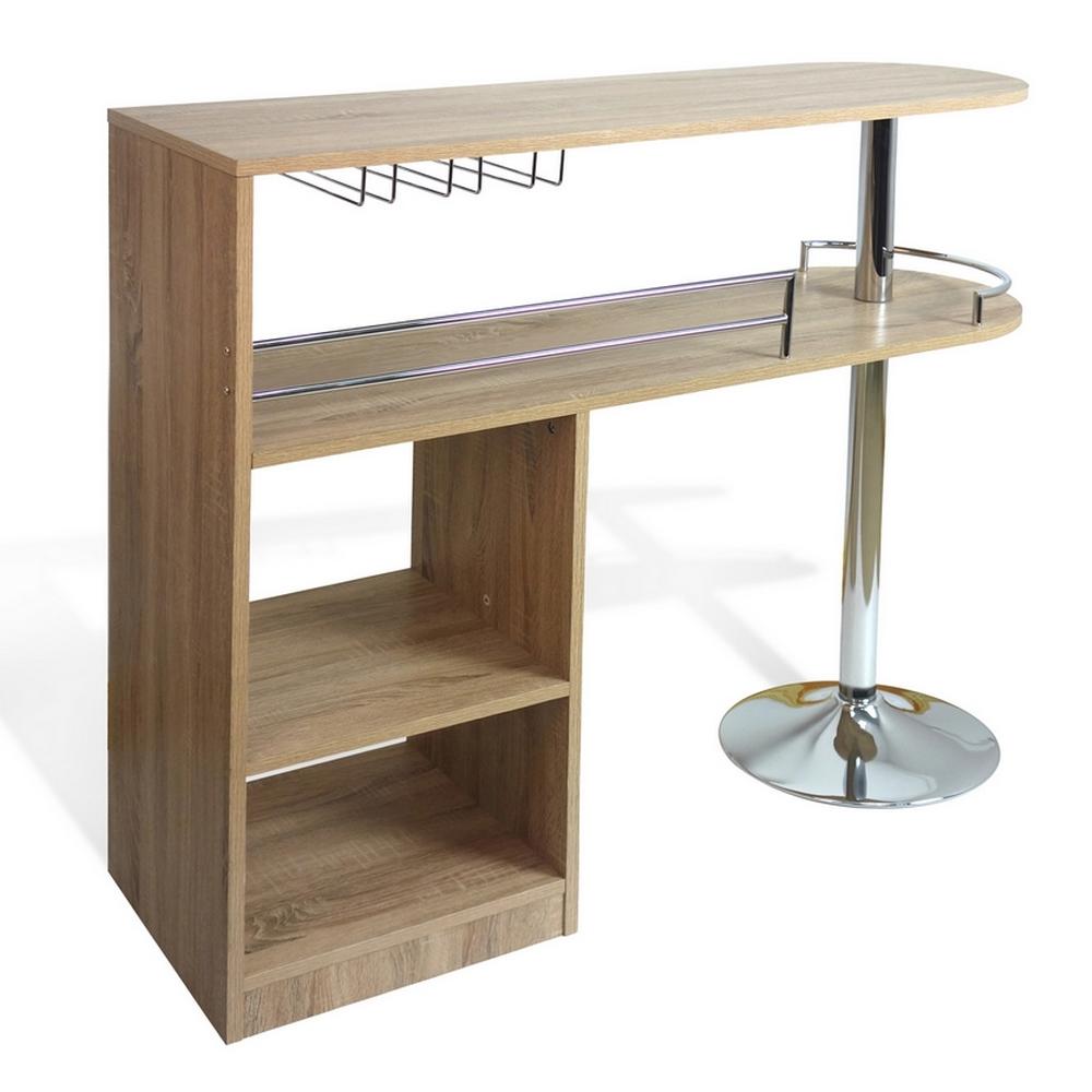Kitchen Table Bar: Homegear Kitchen Cocktail Bar Unit / Table - Oak