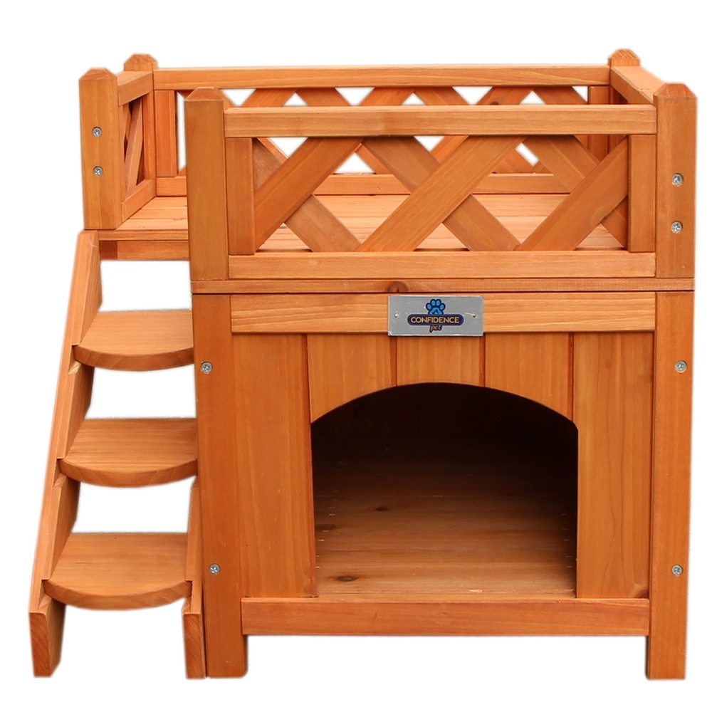 Confidence Pet Wooden Dog House / Kennel with Balcony | eBay