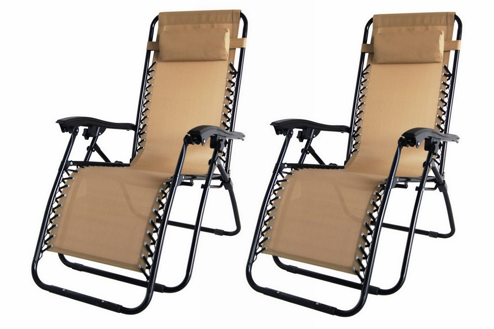 2x Palm Springs Zero Gravity Garden Chairs Lounge/Outdoor